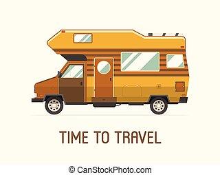 appartamento, stile, campeggio, famiglia, camion, viaggiatore, roulotte, icona