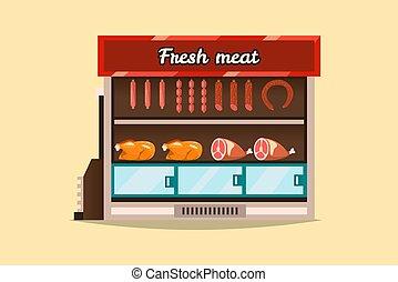 appartamento, stile, carne, countertop, bacheca, shop., vendita, mensola, supermercato, congelare, sausages., products., vetro., interno, fresco, freddo, stare in piedi, goods., frigorifero