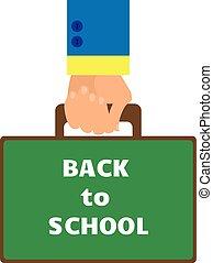 appartamento, stile, cartella, fondo, scuola, indietro, portante, asse, parole, bianco, mano