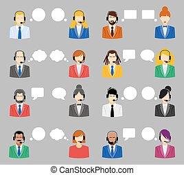 appartamento, stile, centro, illustrazione, icons., operatori, vettore, chiamata, avatar, femmina, maschio