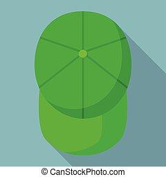 appartamento, stile, cima, berretto, baseball, icona, verde, vista