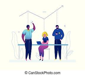 appartamento, stile, colorito, affari, -, analisi, disegno, illustrazione