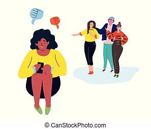 appartamento, stile, colorito, moderno, -, illustrazione, bullying, disegno