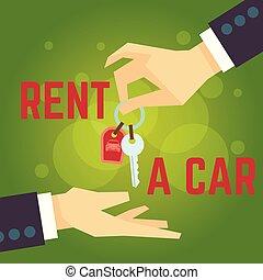 appartamento, stile, concetto, illustration., automobile, mano, vettore, affitto, presa a terra, key.