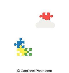appartamento, stile, concetto, mancante, puzzle, tre, pezzi, vettore, disegno, pezzo, nuvola