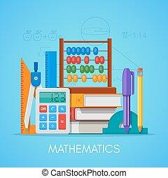 appartamento, stile, concetto, scienza, vettore, disegno, manifesto, educazione, matematica