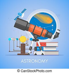 appartamento, stile, concetto, scienza, astronomia, vettore, disegno, manifesto, educazione