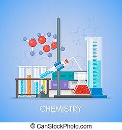 appartamento, stile, concetto, scienza, vettore, disegno, manifesto, educazione, chimica