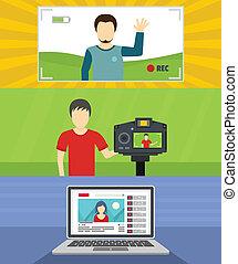 appartamento, stile, concetto, set, blog, video, bandiera, canale