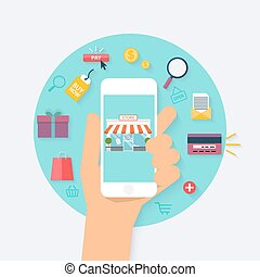 appartamento, stile, concetto, shopping, icone, mobile, concept., moderno, illustrazione, mano, vettore, disegno, presa a terra, linea, marketing., e-commerce., telefono., far male