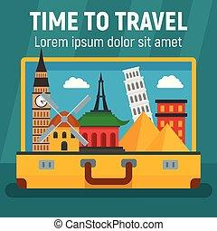 appartamento, stile, concetto, viaggiare, fondo, tempo