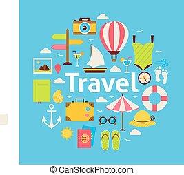 appartamento, stile, concetto, viaggiare, vettore, spiaggia