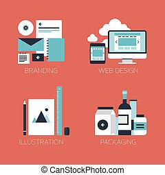 appartamento, stile, disegno, corporativo, icone