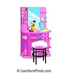 appartamento, stile, donna, illustration., cosmetic., vettore, abbigliamento, specchio, tavola, sedia