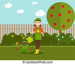 appartamento, stile, donna, moderno, illustrazione, fragola, cespuglio, vettore, lattina, contadino, irrigazione, giardiniere