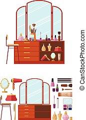 appartamento, stile, donna, stanza, oggetti, vettore, cosmetica, femmina, abbigliamento, interno, illustration., boudoir., tavola., mobilia