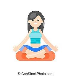 appartamento, stile, donna, yoga., illustrazione, vettore, asiatico
