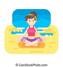 appartamento, stile, donna, yoga., illustrazione, vettore