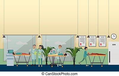 appartamento, stile, emergenza, ospedale, illustrazione, vettore, cura