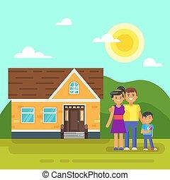 appartamento, stile, family., illustrazione, vettore, casa, felice