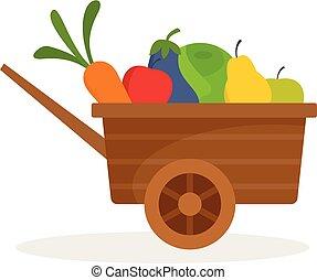appartamento, stile, fattoria, verdura, frutte, carriola, icona