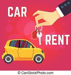 appartamento, stile, flat-style, illustration., automobile, giallo, mano, automobile, vettore, affitto, fondo, presa a terra, keys., rosso