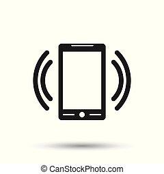 appartamento, stile, fondo., simbolo, isolato, illustrazione, screen., telefono, vettore, email, far male