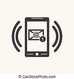 appartamento, stile, fondo., simbolo, screen., illustrazione, telefono, vettore, bianco, email, far male