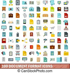 appartamento, stile, formato, set, icone, 100, documento