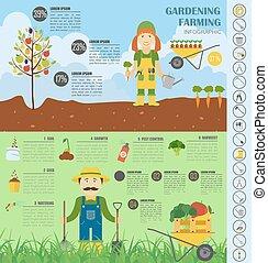 appartamento, stile, grafico, lavoro, infographic., disegno, giardinaggio, agricoltura, template.