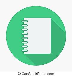 appartamento, stile, icona, quaderno, vettore, illustration.