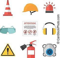 appartamento, stile, icone, lavoro, vettore, sicurezza