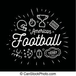 appartamento, stile, icone, linee, illustrazione, americano, vettore, nero, football., bianco, magro