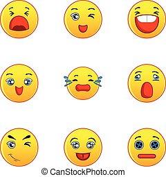 appartamento, stile, icone, set, giallo, smileys