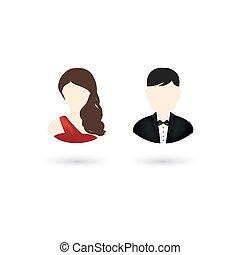 appartamento, stile, icone, vettore, disegno, utente, femmina, maschio