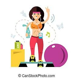appartamento, stile, illustration., colorito, girl., vettore, idoneità, cartone animato