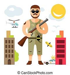 appartamento, stile, illustration., colorito, vettore, bandito, cartone animato, rifle.