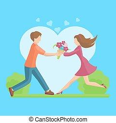 appartamento, stile, illustration., coppia, giovane, vettore, affetto