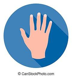 appartamento, stile, illustration., simbolo, isolato, mano, alto, fondo., vettore, cinque, gesti, bianco, icona, casato