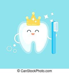 appartamento, stile, illustrazione, dente, vettore, felice, crown.
