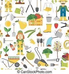 appartamento, stile, lavoro, pattern., seamless, disegno, giardinaggio, agricoltura