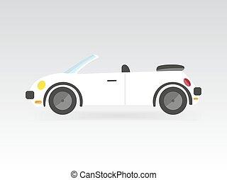 appartamento, stile, macchina corsa, isolato, illustrazione, vettore, auto, convertibile, sport, bianco, trasporto, icona