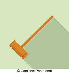 appartamento, stile, maglio, croquet, legno, icona