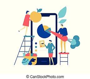 appartamento, stile, mangiare, colorito, sano, app, -, illustrazione, disegno