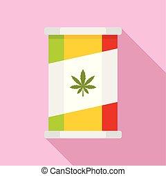 appartamento, stile, marijuana, barattolo latta, icona