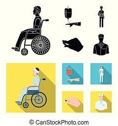 appartamento, stile, medicazione, trasfusione, icone, dottore, dottore., web., illustrazione, simbolo, sangue, vettore, invalido, mani, collezione, nero, medicineset, trauma, casato