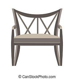 appartamento, stile, moderno, isolato, illustrazione, vettore, disegno, retro, vista, sedia, mobilia, icona