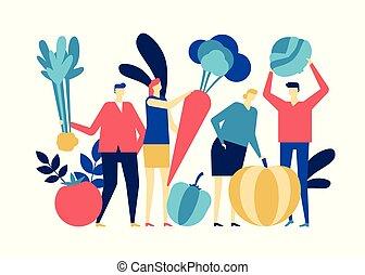 appartamento, stile, organico, colorito, cibo, -, illustrazione, disegno