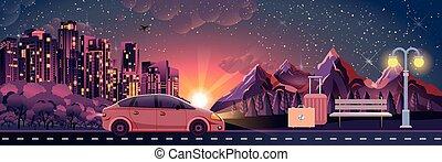 appartamento, stile, paesaggio, bagaglio, tramonto, attività, natura, illustrazione, viaggiare, apparecchiatura, nightlife, esterno, panca, automobile, notte, sport, città, montagne