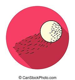 appartamento, stile, palla, golf, illustration., club, simbolo, volare, isolato, fondo., vettore, bianco, icona, casato